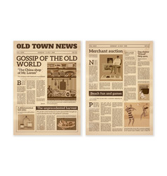 Retro newspaper daily news articles yellow vector