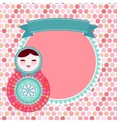 Russian dolls matryoshka on white background pink vector image