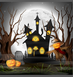 Scary church background with scarecrow and pumpkin vector