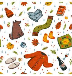 Seamless autumn pattern fall season essentials vector