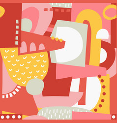 Seamless pattern abstract shapes collage vector