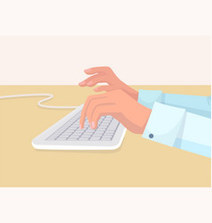 Secretarys hands types on white copter keyboard vector