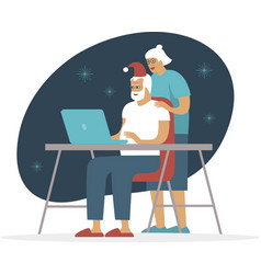 senior couple using laptop for video call vector image