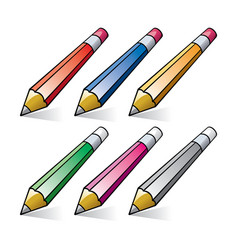 set stylized pencils vector image
