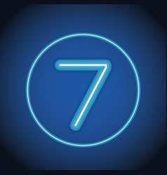 Seven font number neon vector