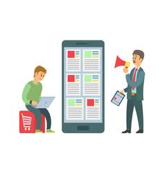 Shopping online worker and boss giving tasks vector