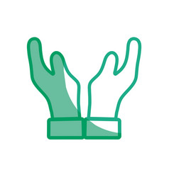 Silhouette man hands up icon vector