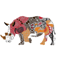 silhouette of a rhinoceros in ethnic patterns vector image