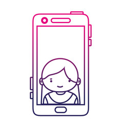 Silhouette smartphone technology with girl person vector