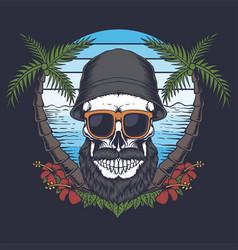 skull beard mustache beach vector image