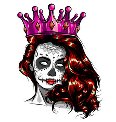 Skull girl with red flowers vector