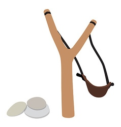 Slingshot and stones vector image