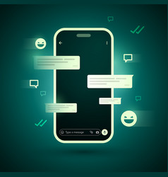 smartphone futuristic cyber messenger chat concept vector image