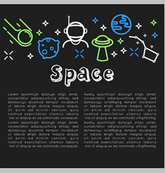 space poster with text sample and icons vector image