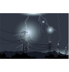 Storm lightning electrical discharges dangerous vector