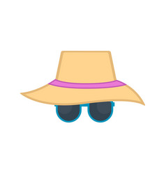 summer hat with sunglasses icon vector image