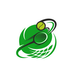 tennis ball and racket sport icon vector image
