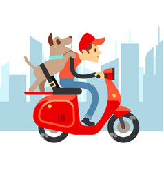travel with pets - young man on moto with dog and vector image