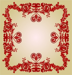 Valentine heart frame Greeting and floral ornament vector image