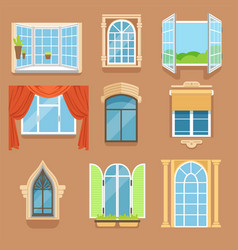 Vintage and modern windows set in different styles vector