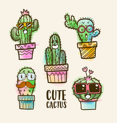 Watercolor cactus collections cactus set vector
