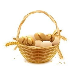 Wicker basket with eggs and wheat ears Symbol of vector image