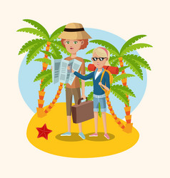 Woman and girl map suitcase starfish palm sand vector