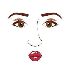 woman face with open eyes and giving a kiss vector image