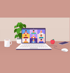 working from home people talk or learning online vector image