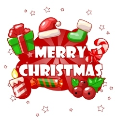 collection greeting card with Merry Christmas vector image
