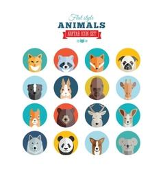 Flat Style Animals Avatar Icon Set vector image