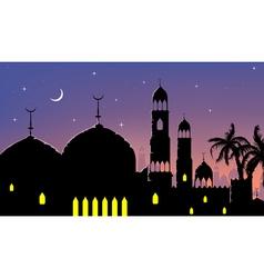 Horizontal cityscape arab city night banners vector image