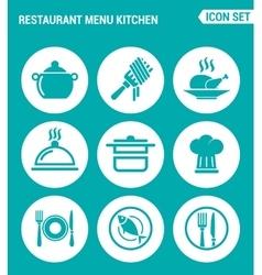 set of round icons white Restaurant menu kitchen vector image