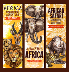 african safari outdoor adventure sketch banner set vector image