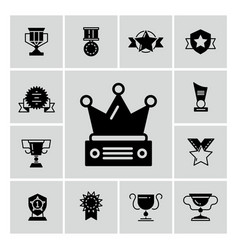 awards trophy and prizes black icons vector image vector image