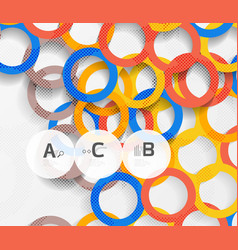 color rings with shadows on gray abstract vector image