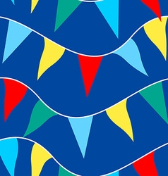 Colored flags on rope in a seamless pattern vector