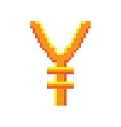 Sign pixel yen gold 808 vector image vector image