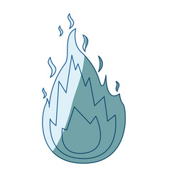 blue shading silhouette of flame icon vector image