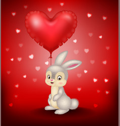 cartoon bunny holding red heart balloons vector image vector image