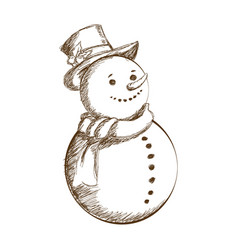christmas snowman vintage decoration with hat vector image vector image
