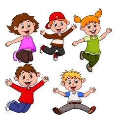 Happy children cartoon vector image