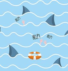 Shark in sea seamless pattern Man drowns Scenery vector image