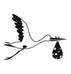 stork carrying icon simple style vector image