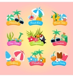 Summer Party Labels And Elements Set Isolated vector image