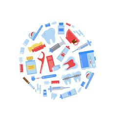 flat style teeth hygiene icons circle vector image vector image