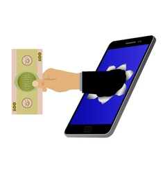 Hole on the screen and hand with banknote vector image vector image