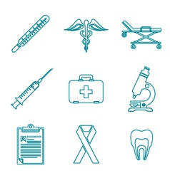 outline medical icons set vector image vector image