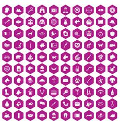 100 dog icons hexagon violet vector