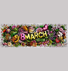 8 march hand drawn cartoon doodles vector